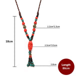 bohemian colorful ceramic beads & tassel pendant necklace