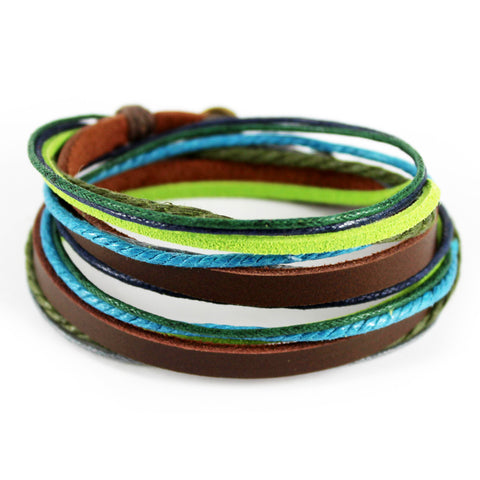 trendy colorful handmade genuine leather bracelet