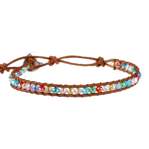 bohemian multicolor acrylic beads leather bracelet for women