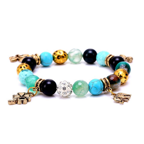 handmade gold clover beads natural stone bracelet for women