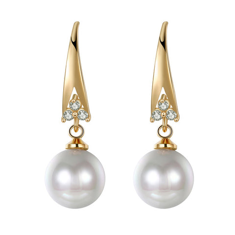 luxury cubic zircon & imitation pearl drop earrings for women