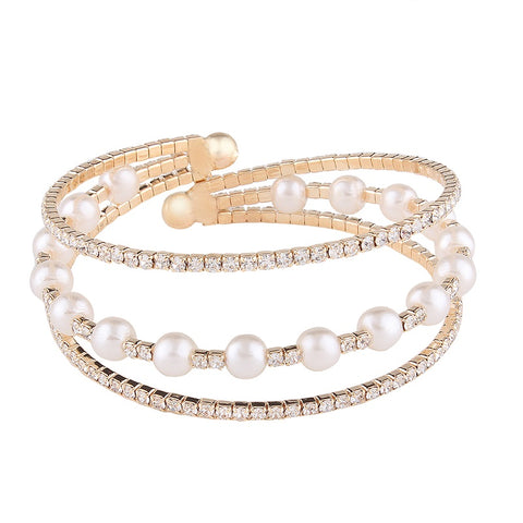 elegant crystal beads & simulated pearl bracelet for women