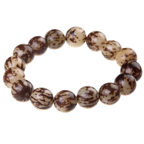 ethnic natural wood buddha beads stretch bracelet
