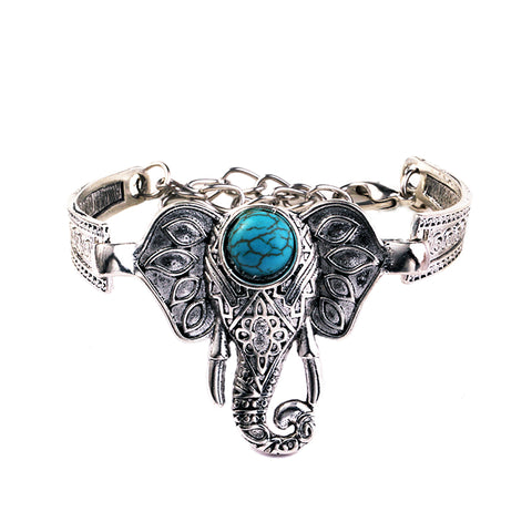 antique silver plated elephant charm bracelet for women