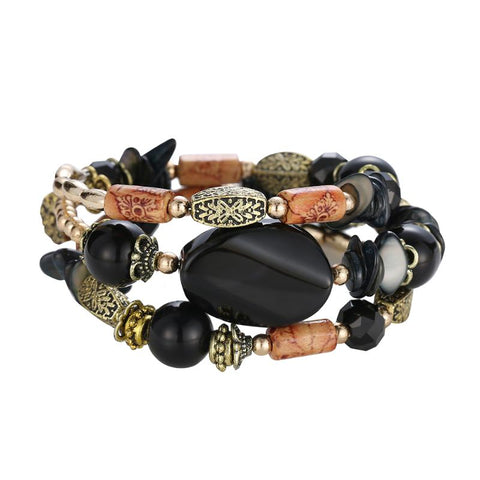 boho multilayer resin stone bracelet & bangle for woman