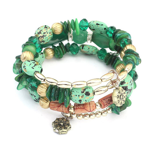 trendy multilayer beads resin stone bracelet for women