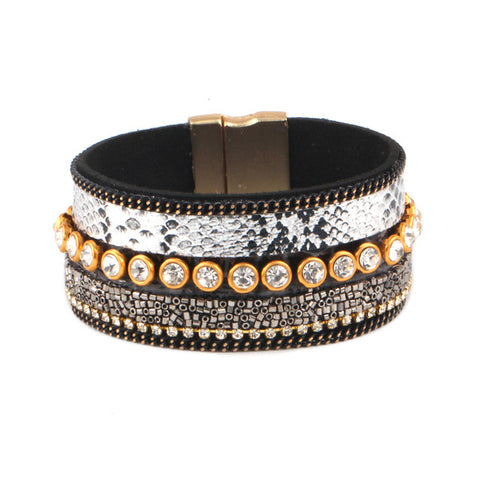 bohemian leather & rhinestone wristband bracelet for women