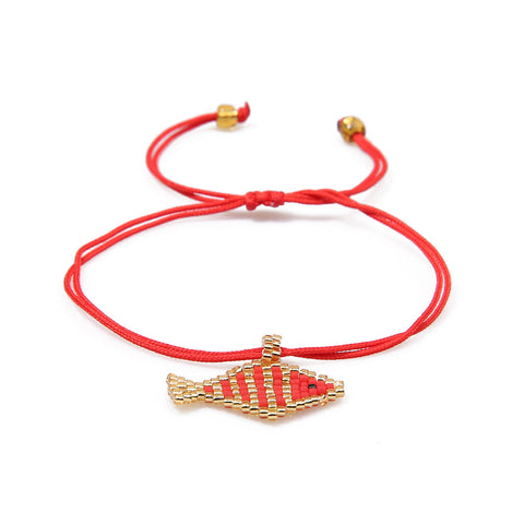 cute red seed beads fish pendent bracelet for women