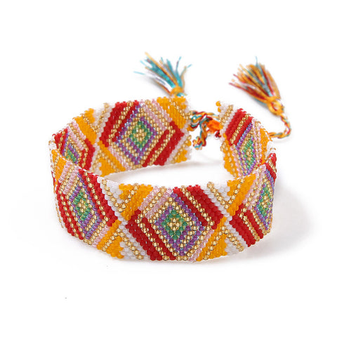 ethnic adjustable beaded weave indian bracelet for women