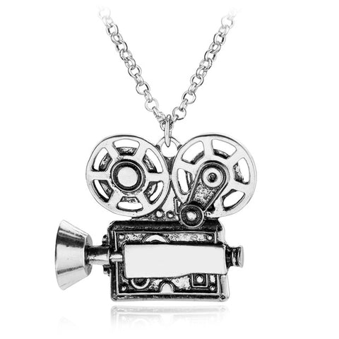 trendy movie projector shape metal pendant chain necklace