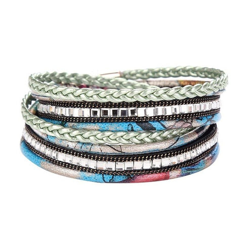 multilayer acrylic floral magnetic clasp bangle bracelet
