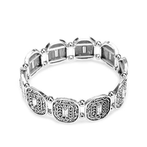 ethnic style floral charm bangle bracelet for women