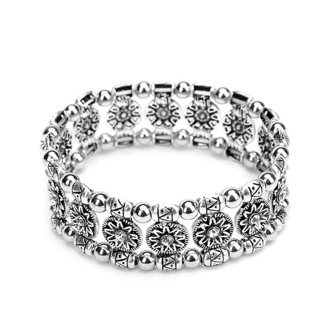 ethnic silver color chain flower pattern cuff bracelet for women