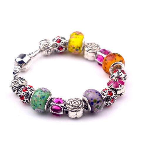 trendy colorful crystal beads bracelet & bangle for women
