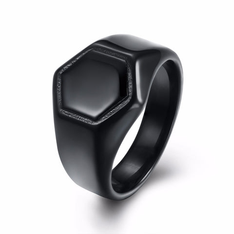 trendy gun black plated stainless steel hexagon ring for men