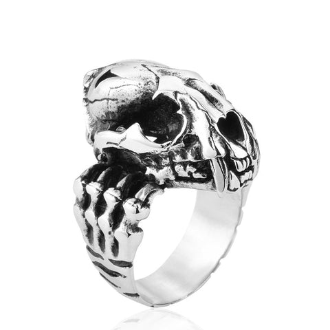 cool silver color stainless steel tiger skull ring for men