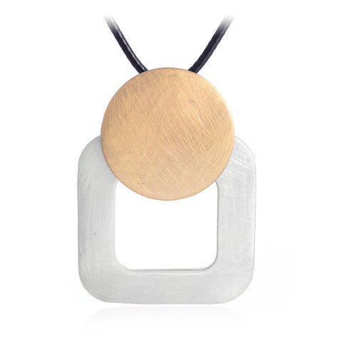 trendy square & round drawing pendant necklace for women