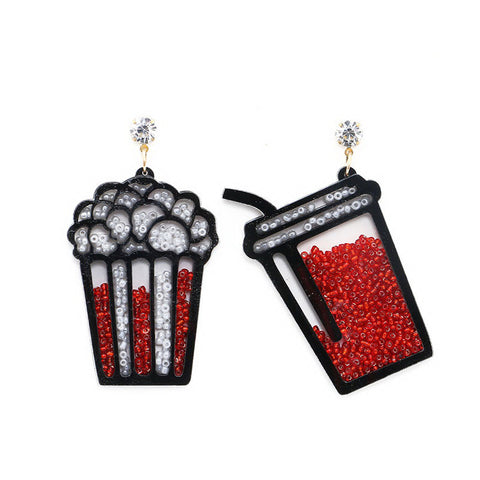 cute soda cup & popcorn filled tiny beads earrings for women