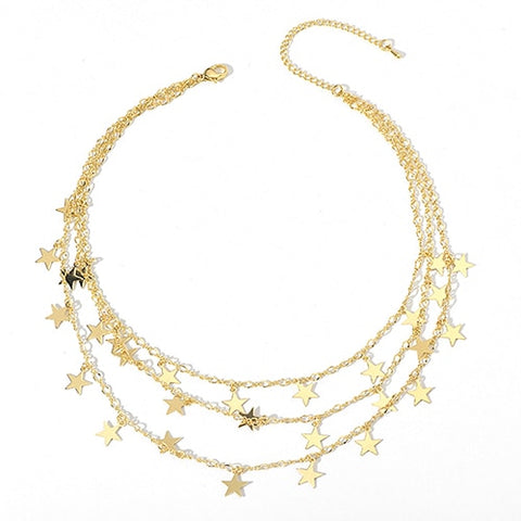 simple multilayer tiny star tassel statement necklace for women