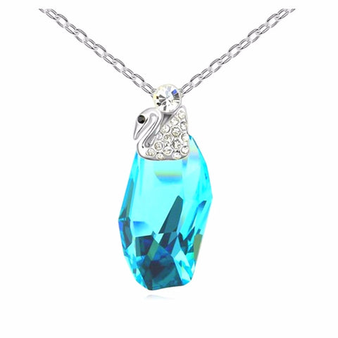 trendy blue crystal & swan pendant necklace for women