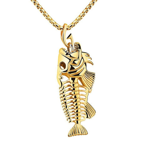 cool fish bone stainless steel pendant necklace for men