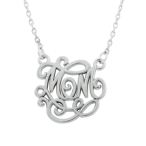 silver color MOM word hollow pendant necklace for women