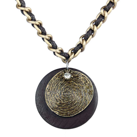 trendy wood & metal rounds pendant necklace for women