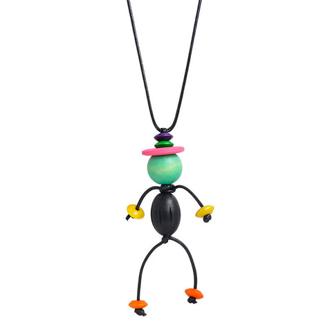 cute resin & wood doll pendant chain necklace for women
