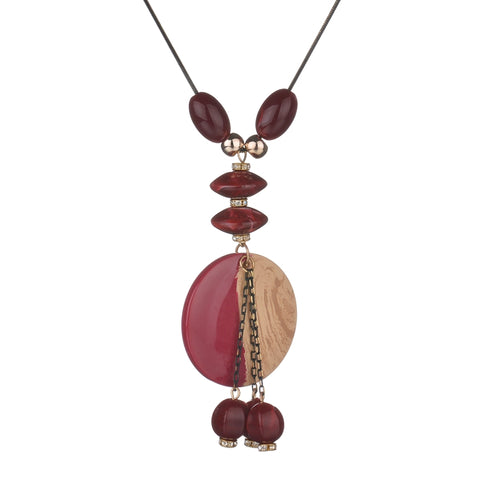 bohemia imitation wood acrylic beads necklace for women