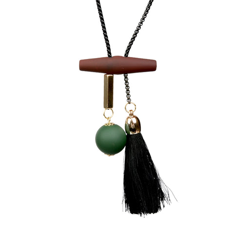 vintage tassel & ball wood beads pendant necklace for women