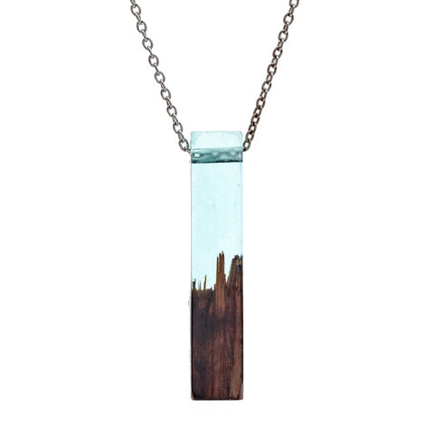 trendy wood & resin geometric pendant chain necklace