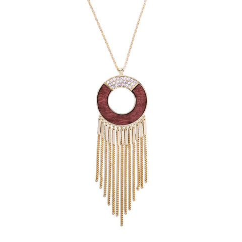 bohemian wood & crystal tassel pendant necklace for women