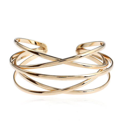 punk multilayer geometry hollow out cuff bracelet for women