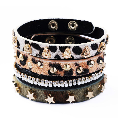 4 pc/set punk style leopard pattern leather bracelet for women