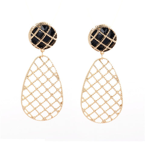 trendy hollow water drop shape earrings for women