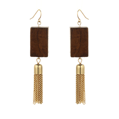 simple style trendy wood with tassel drop earrings for women