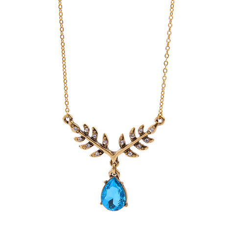 trendy blue crystal branch shape necklace & pendant for women