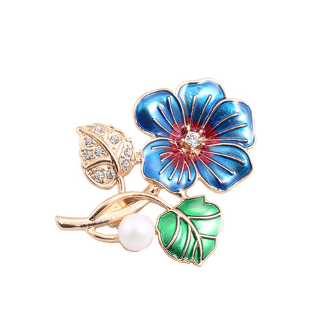 colorful crystal & pearl petal flower brooch pin for women
