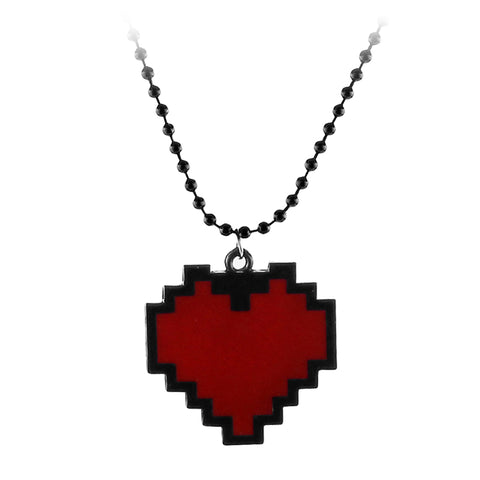 cute pixel design heart pendant chain necklace