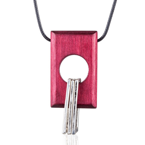 vintage wood & metal pendant long necklace for women