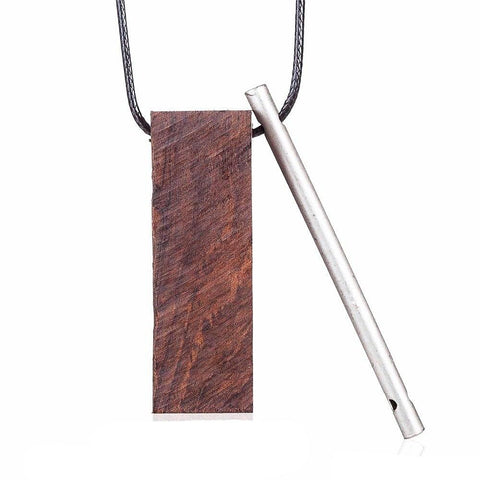 trendy metal tube & wood necklace & pendant for women