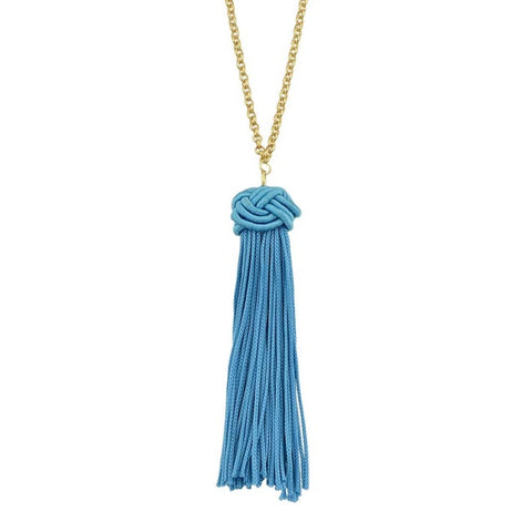 bohemian golden chain with cotton tassel necklace for women