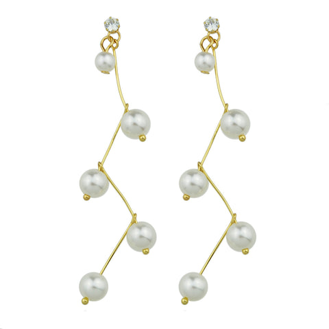 elegant long strip beaded drop earrings for women