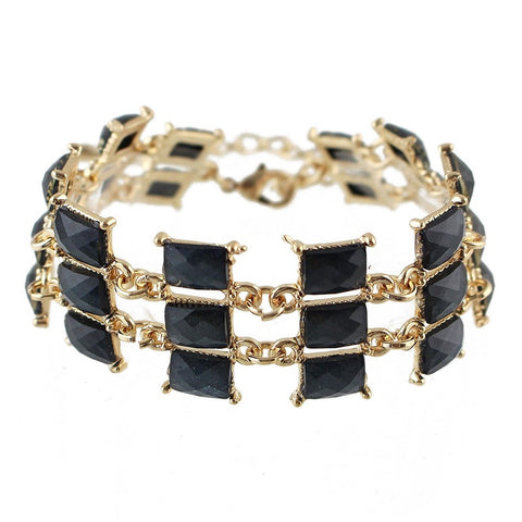 punk style multilayer chain with enamel bracelet for women