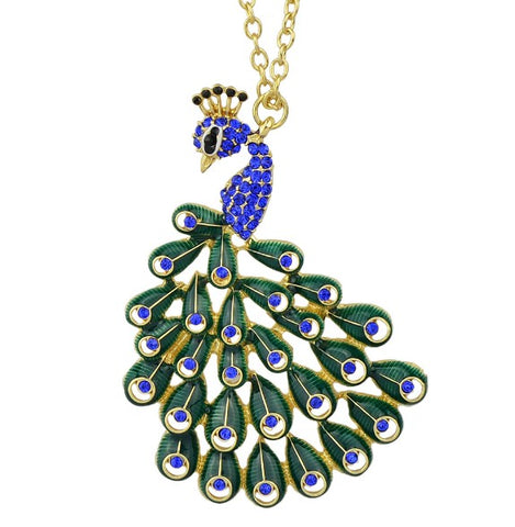 luxury rhinestone peacock shape pendant necklace for women