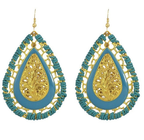 ethnic gold color hollow water drop earrings for women