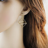 minimalist hollow geometric design drop earrings for women