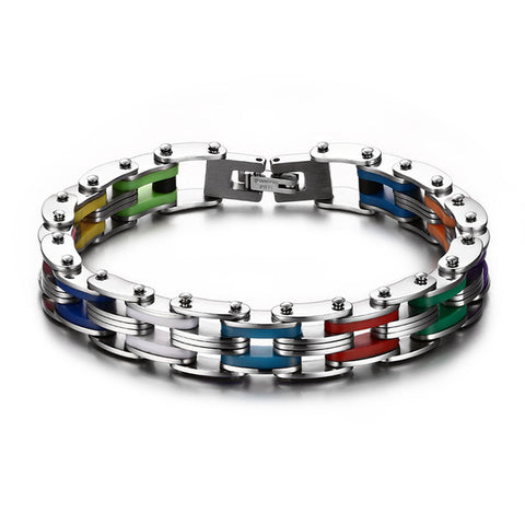 silver color stainless steel colorful silicone bracelet for men