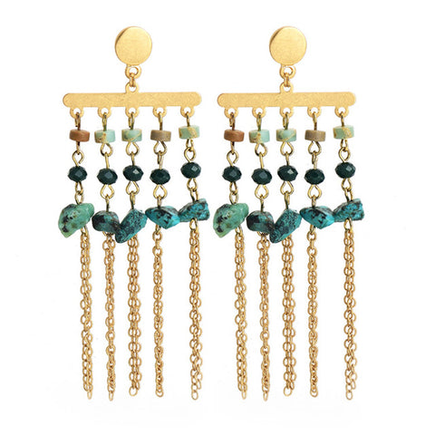 vintage natural stone chain tassel drop earrings for women