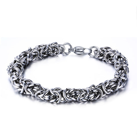silver color stainless steel braid chain bracelet for men